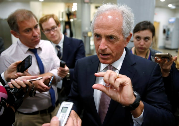 Image: Senator Bob Corker (R-TN) speaks to reporters after the Senate approved $15.25 billion in aid for areas affected by Hurricane Harvey in Washington