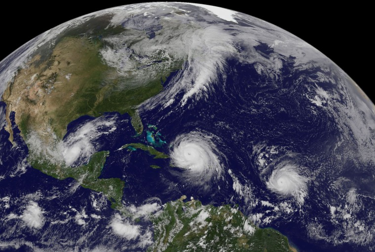 Image: Hurricanes Irma, Jose and Katia hover in the Atlantic and Gulf