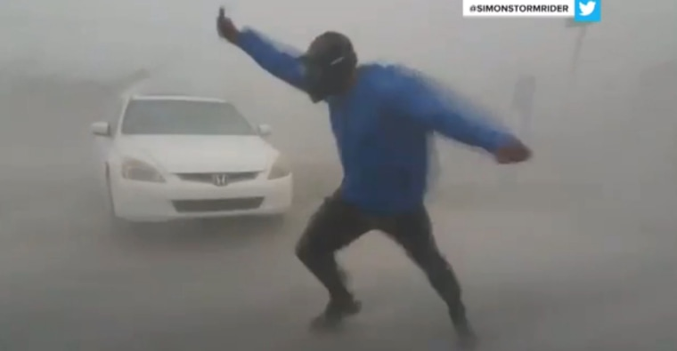 Image: A screen shot shows storm chaser Simon Brewer battling hurricane Irma's winds in an attempt to gather data from the storm, Sept. 10, 2017.