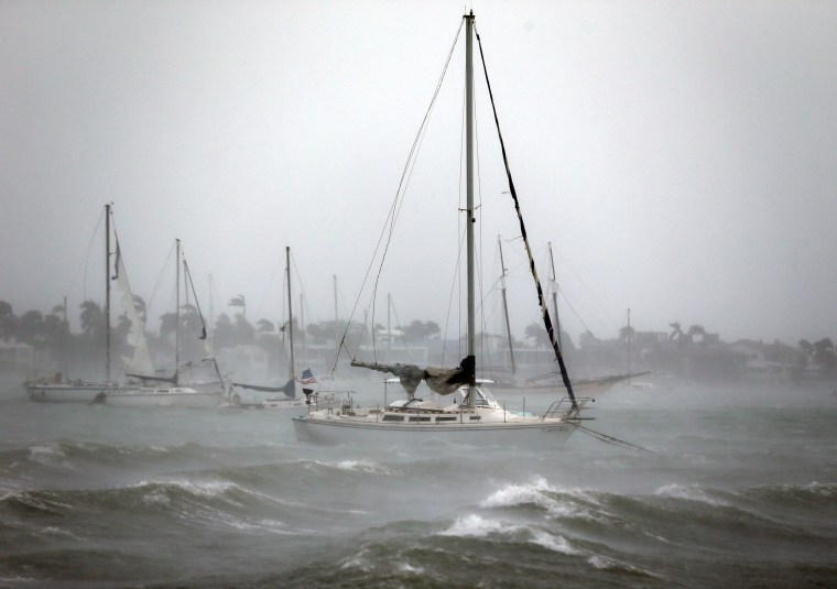Image: Sailboats moored near Watson Island ride out the winds and waves as Hurricane Irma moves through Miami Beach on Sept. 10.