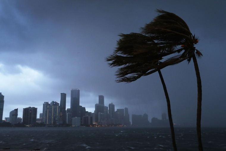 Image: The Downtown Miami skyline is seen as the outer-bands of Hurricane Irma start to reach Florida on Sept. 9.