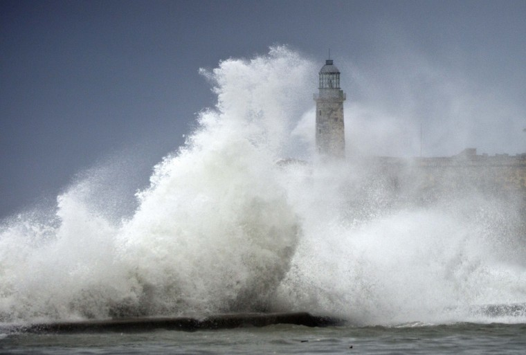 Image: Waves crash into El Morro after the passing of Hurricane Irma, in Havana,
