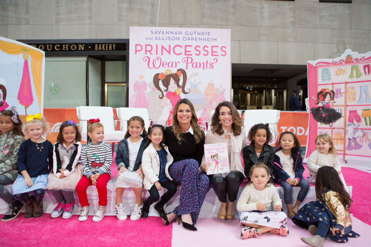 "Savannah Guthrie, Allison Oppenheim, and some of their ""Princesses Wear Pants"" fans."