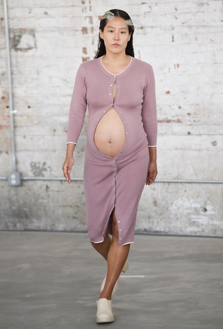Pregnant model Maia Ruth walks in Eckhaus Latta runway show