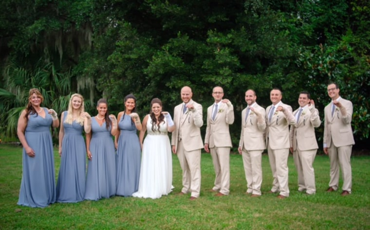 Wedding party cheers up bride with a broken wrist by wearing Ace bandages in funny photo