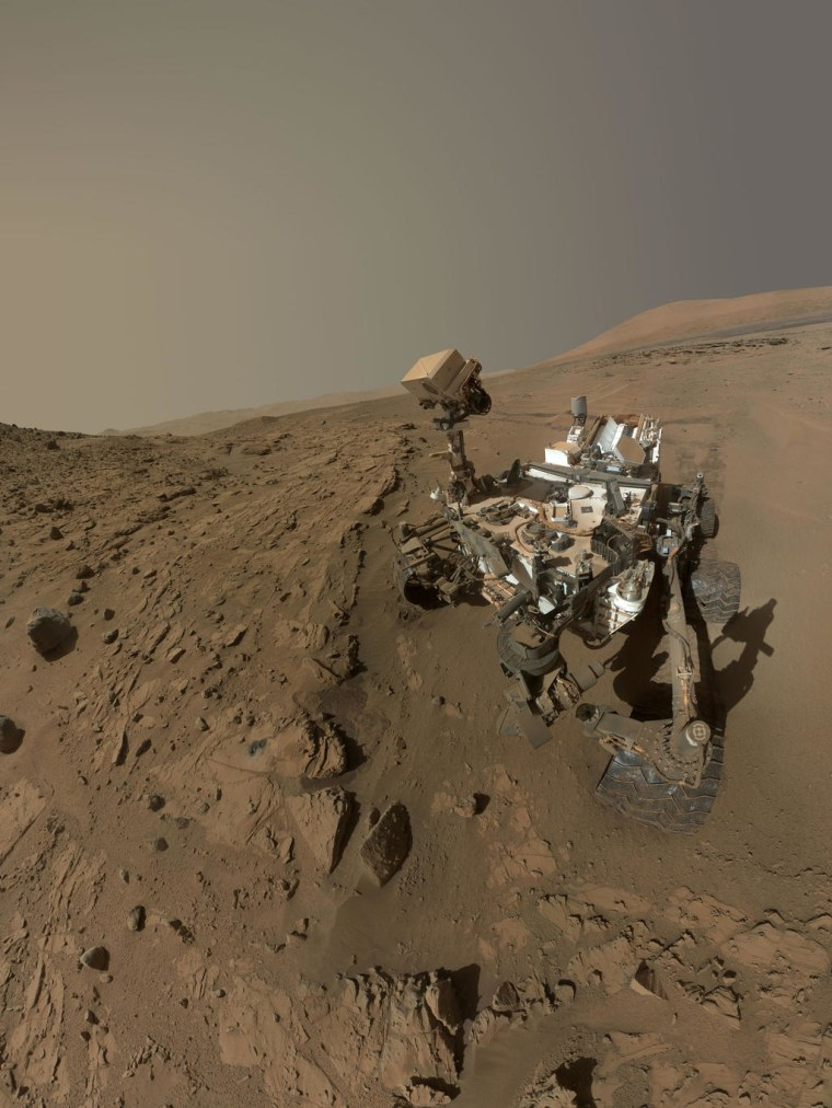 A self-portrait of the Curiosity Mars Rover at the Windjana drill site, taken with the Mars Hand Lens Imager camera.