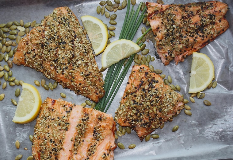 A low-FODMAP diet approved pumpkin and sesame seed crusted salmon.
