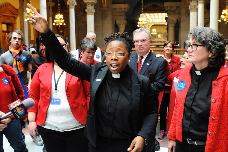 Image: Whittney Murphy speaks at the Indiana Statehouse, LGBT Indiana