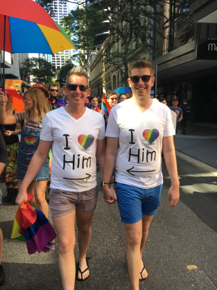 Andrew Eggins and Andy Copley at a marriage equality rally in Brisbane, Australia.