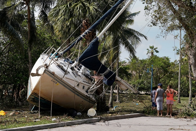 Image: Wrecked boats that have come ashore are pictured in Coconut Grove following Hurricane Irma in Miami, Florida