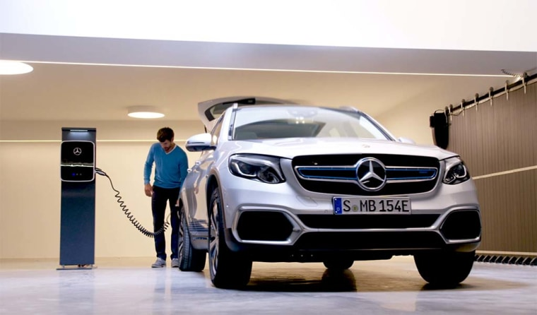 The Mercedes-Benz GLC F-Cell is a hydrogen fuel-cell/plug-in hybrid model, here shown charging its battery pack.