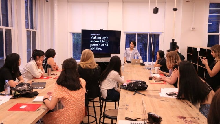 Grace Jun speaks about the Open Style Lab during the 2016 summer program at the Parsons School of Design.