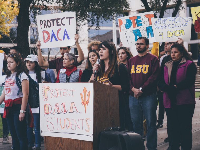 Reyna Montoya at a recent rally advocating for DACA.