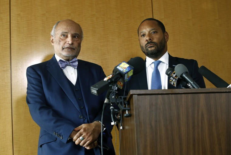 Image: Billy Murphy and Hassan Murphy , attorneys for the family of Freddie Gray, speak at a news conference in Baltimore