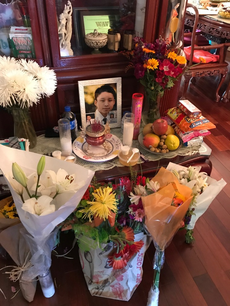 A memorial altar to Tommy Le