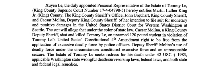 An excerpt of court documents detailing the Le's family's allegations against the King County Sheriff's Office.
