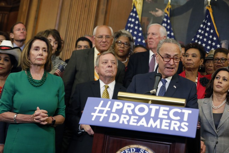Image: Schumer, Pelosi Lead Democrats' Call For GOP Lawmakers To Stand Up To President On Decision To End DACA