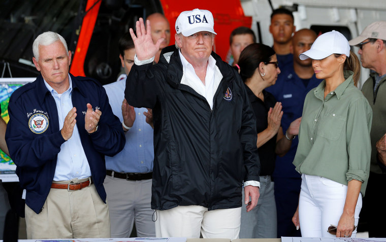 Image: President Trump waves after briefing on Hurricane Irma relief efforts in Fort Myers, Florida