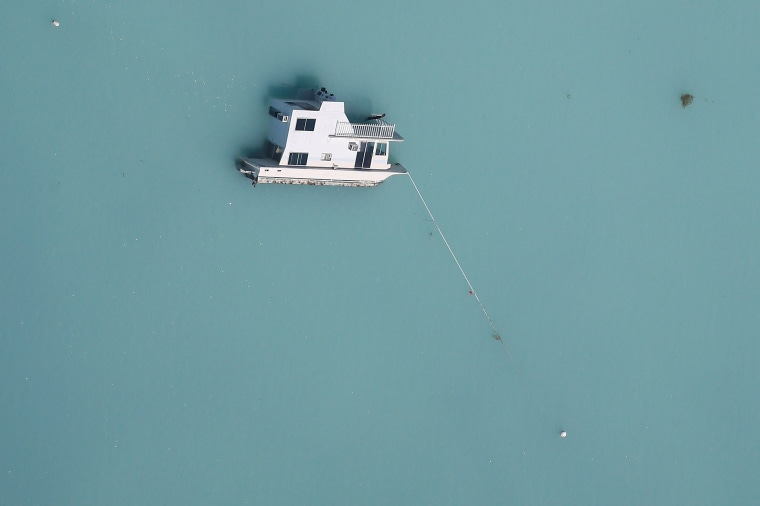 Image: A sunken boat is pictured in an aerial photo in the Keys in Marathon, Florida