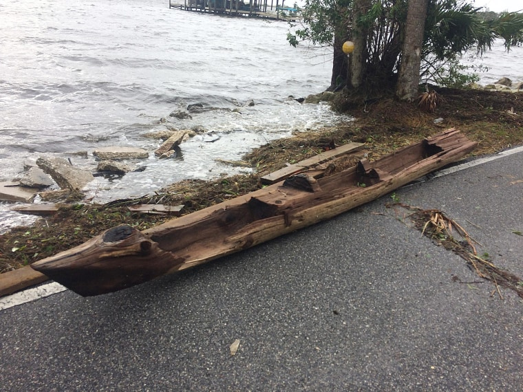 Image: A canoe found by a Florida resident next to the Indian River during Hurricane Irma