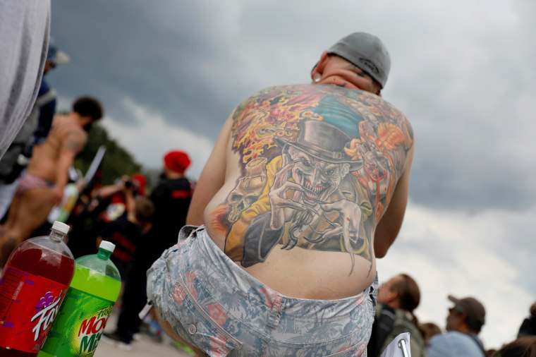 Image: Demonstrator with an ICP-themed tattoo looks on during the Juggalo March in Washington