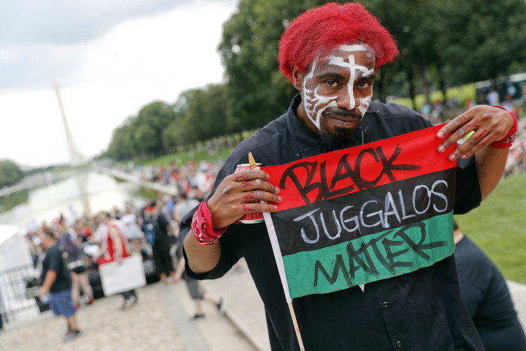 Image: Richard Williams, 29, of Oakland, Calif., joins other juggalos