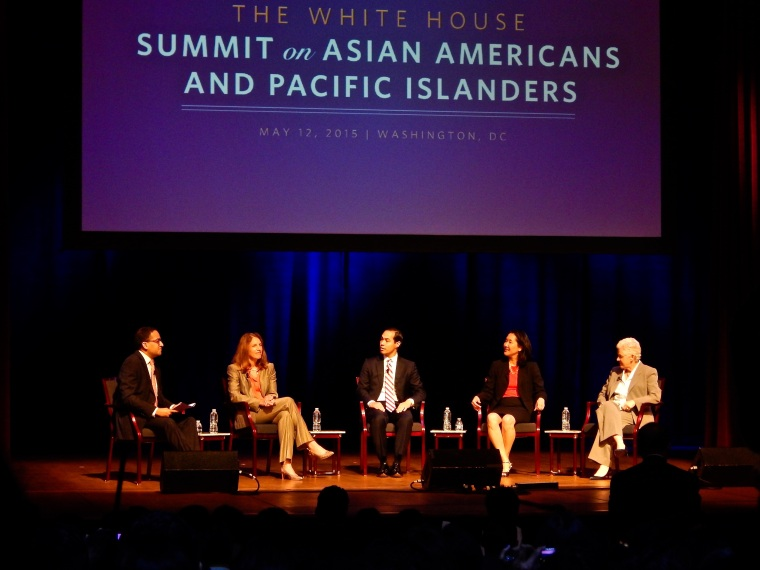 A fireside chat at the White House Summit on Asian Americans and Pacific Islanders, moderated by Gautam Raghavan with panelists Secretary of Health and Human Services Sylvia Burwell, Secretary of Housing and Urban Development Juli?n Castro, U.S. Equal Employment Opportunity Commission Chair Jenny Yang, and Environmental Protection Agency Administrator Gina McCarthy, May 12, 2015.