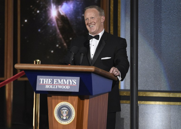 Image: Sean Spicer speaks at the 69th Primetime Emmy Awards