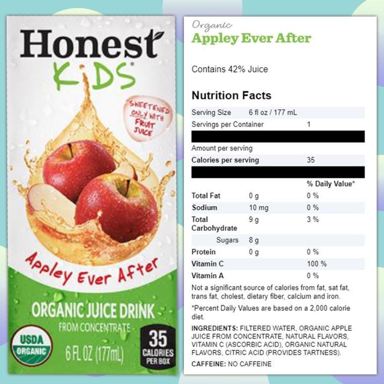 Honest Kids apple juice nutrition label