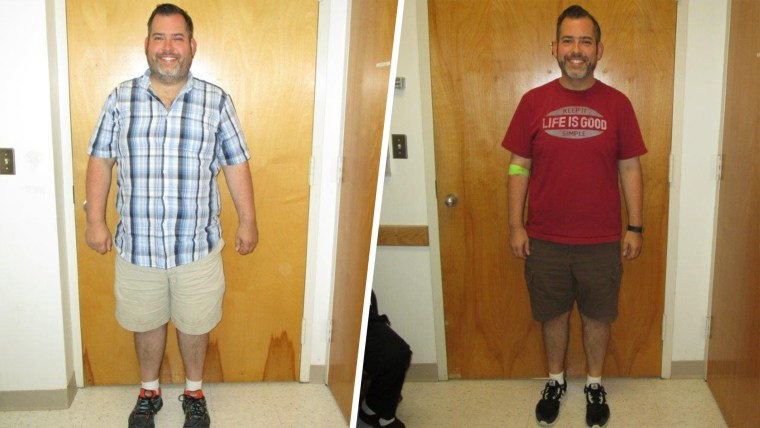 Brian Bolduc before and after his weight loss for the liver transplant surgery