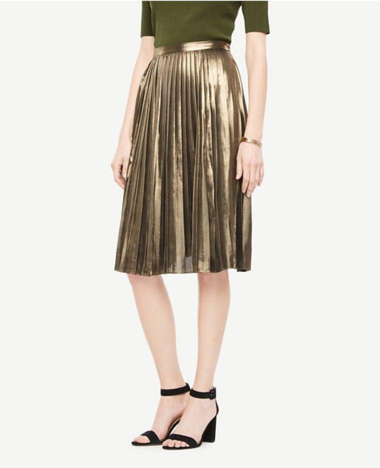 metallic skirt, ann taylor, shopping, fashion, style, fall fashion