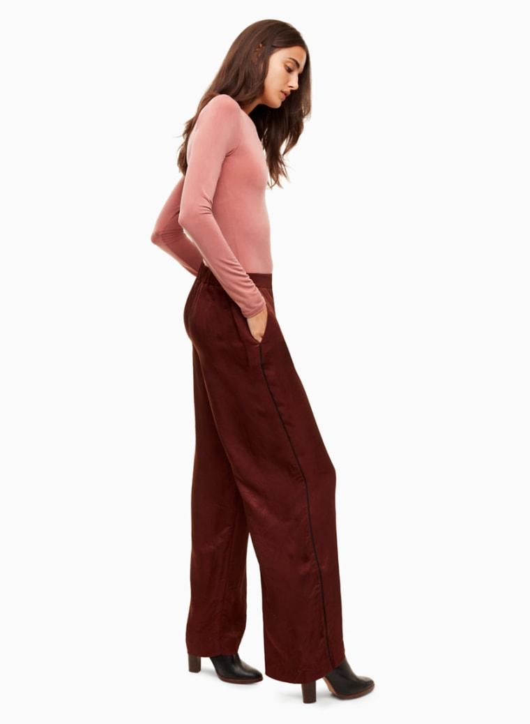 fall fashion, silk pants, shopping