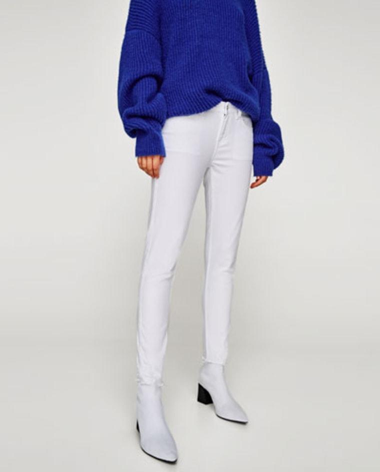 white jeans, fall fashion, Zara, shopping