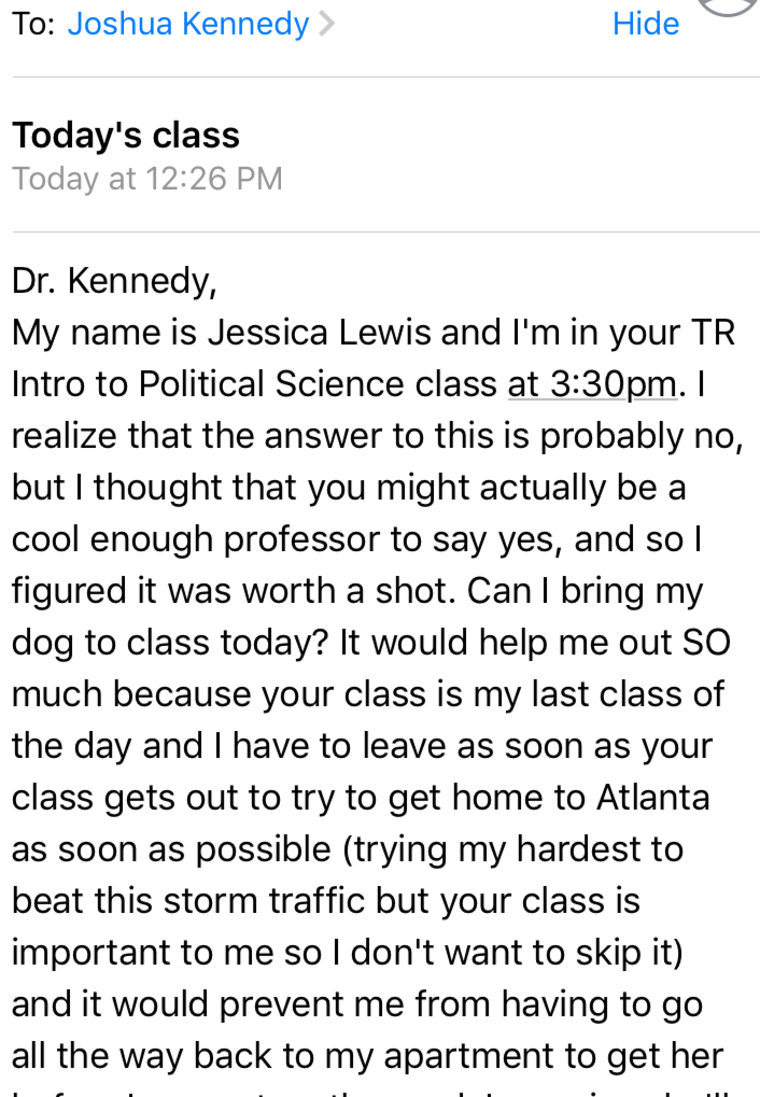 Student asks to bring dog to class during Hurricane Irma