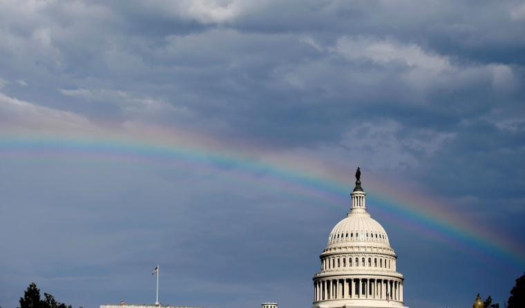 Image: A rainbow shines over the U.S. Capitol in Washington