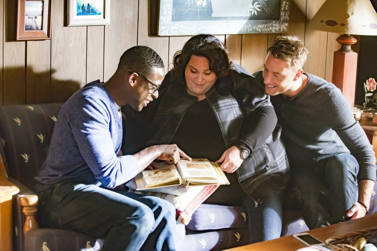 """Image: Sterling K. Brown as Randall, Chrissy Metz as Kate, Justin Hartley as Kevin in \""""The Trip\"""" on season 1 of \""""This is Us.\"""""""