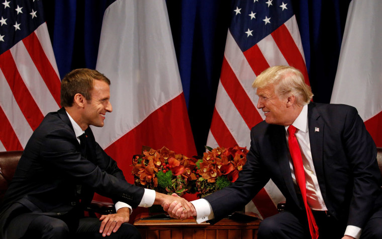 Image: Trump meets with French President Macron in New York