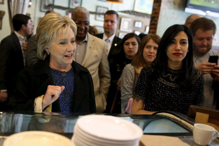 Image: Then-Democratic presidential candidate Hillary Clinton and her senior aide Huma Abedin order coffee at Urban Standard cafe in Birmingham, Alabama Feb. 27, 2016.