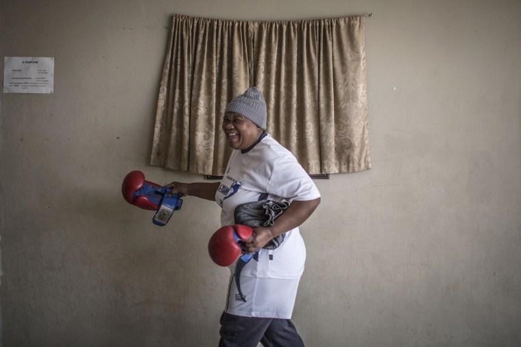 Image: Gladys Ngwenya gets ready for the Boxing Gogos training session