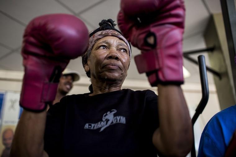 Image: Gladys Ngwenya, 77,prepares to box