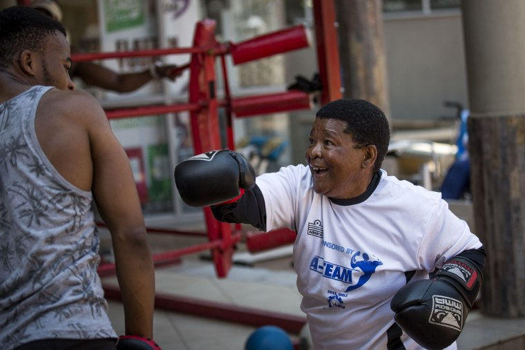 "Image: A ""Boxing Gogo"" throws a punch"