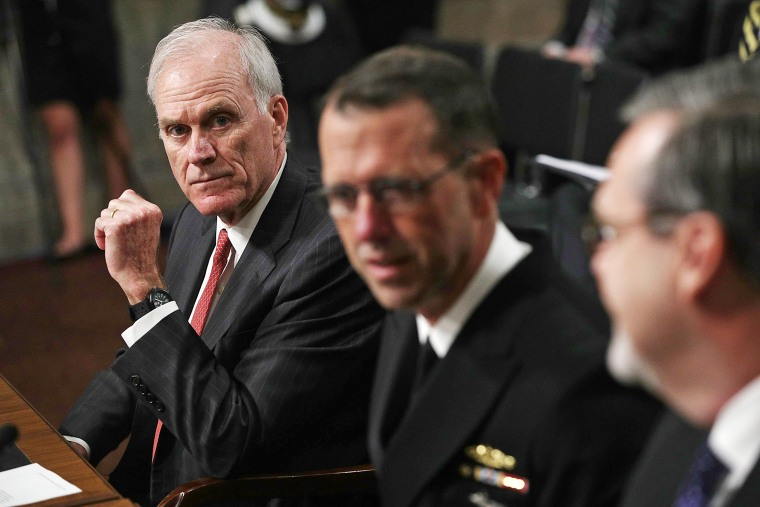 Image: U.S. Secretary of the Navy Richard Spencer (L) talks to Chief of Naval Operations Adm. John Richardson (R) prior to a hearing before Senate Armed Services Committee