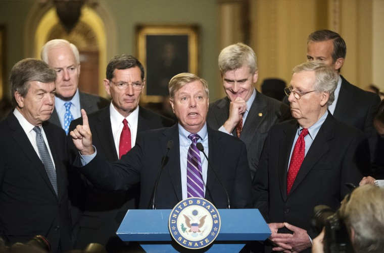 Image: Lindsey Graham, Roy Blunt, John Cornyn, John Barrasso, Bill Cassidy, Mitch McConnell, John Thune