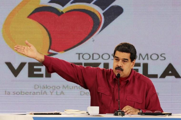 "Image: Venezuela's President Nicolas Maduro speaks during his weekly broadcast \""Los Domingos con Maduro\"" (The Sundays with Maduro) in Caracas"