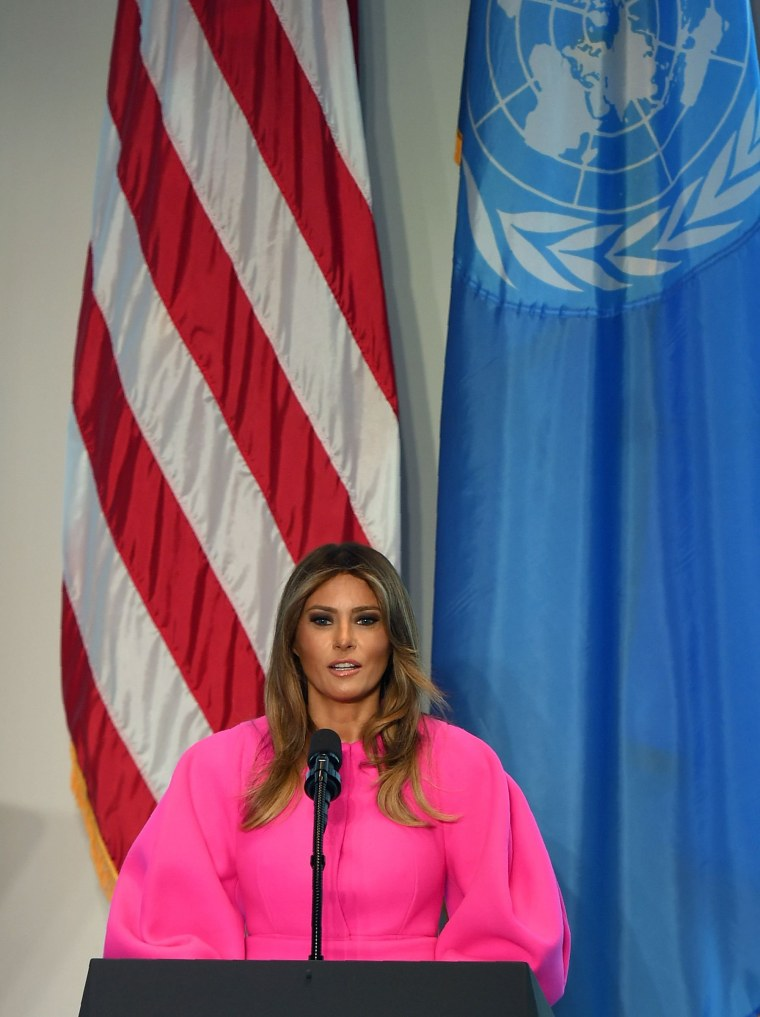 Image: US First Lady Melania Trump addresses other spouses of world leaders at a United Nations luncheon