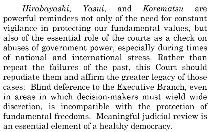An excerpt of the friend-of-the-court brief from Karen Korematsu, Jay Hirabayashi, and Holly Yasui.