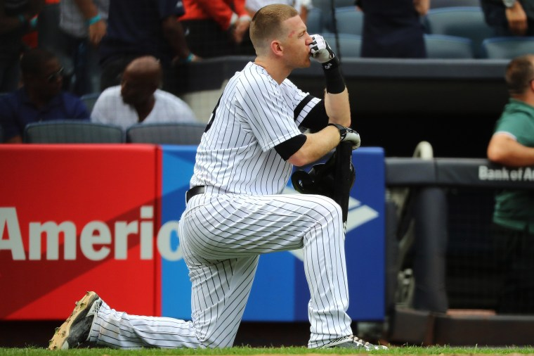 Image: Todd Frazier of the New York Yankees reacts after a child was hit by a foul ball off his bat