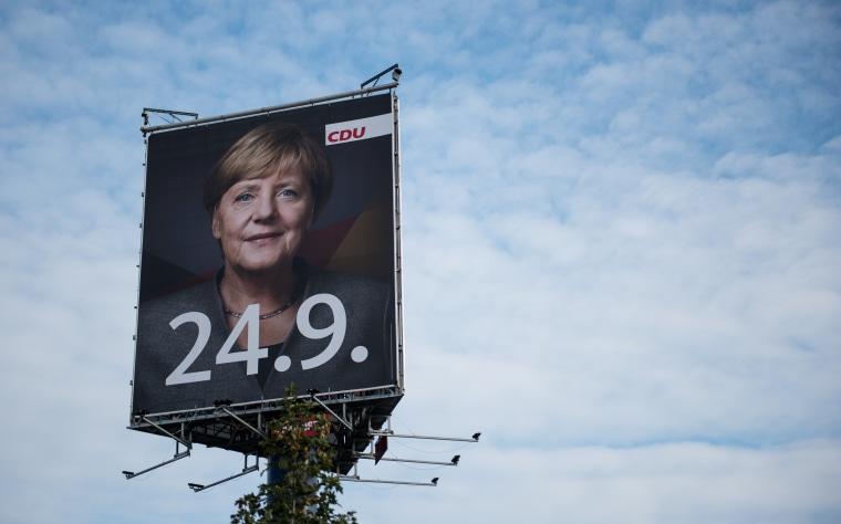 Image: Campaign billboard featuring Angela Merkel