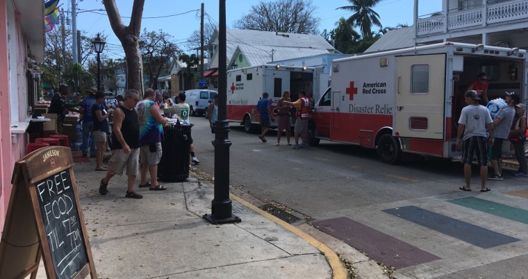 American Red Cross trucks delivering food to 801 Bourbon Bar in Key West, Fla., following Hurricane Irma.