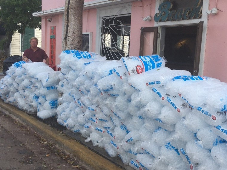 801 Bourbon Bar owner Jim Gilleran with bags of ice that will be used by Key West, Fla., community members